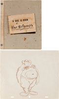 "Animation Art:Production Drawing, ""A Gag Is Born at Walt Disney's"" Prop Book (Walt Disney, 1950s)....(Total: 2 )"
