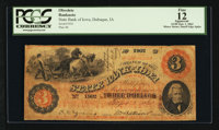Dubuque, IA- State Bank of Iowa $3 Sept. 1, 1863 G92 Oakes 60-8