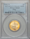Modern Issues, 1996-W G$5 Olympic/Flag Bearer Gold Five Dollar MS69 PCGS....