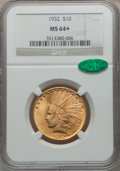 Indian Eagles, 1932 $10 MS64+ NGC. CAC....