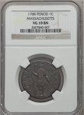 1788 1C Massachusetts Cent, Period VG10 NGC. NGC Census: (6/128). PCGS Population (15/379). ...(PCGS# 311)