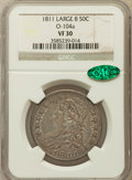 Bust Half Dollars, 1811 50C Large 8 VF30 NGC. CAC. O-104a. NGC Census: (29/852). PCGSPopulation (11/337). Mintage: 1,203,644. Numismedia Wsl....