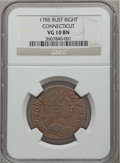 1785 COPPER Connecticut Copper, Bust Right VG10 NGC. NGC Census: (2/40). PCGS Population (2/55). ...(PCGS# 316)