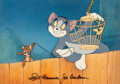 Animation Art:Production Cel, Puss n' Toots/Cat Fishing Tom and Jerry Production Cel and Background Set-Up Signed by Bill Hanna and Joe Barbera (MGM...