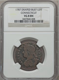 1787 COPPER Connecticut Copper, Draped Bust Left VG8 NGC. NGC Census: (23/177). PCGS Population (21/561). ...(PCGS# 370)