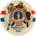 Political:Pinback Buttons (1896-present), Theodore Roosevelt: Colorful 1900 V. P. Button with Rough RiderTheme....