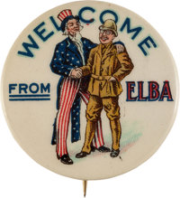 Theodore Roosevelt: Welcome From Elba Cartoon Pin