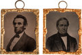 Political:Ferrotypes / Photo Badges (pre-1896), Lincoln & Hamlin: Abbott Tintypes.... (Total: 2 Items)
