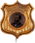 Political:Ferrotypes / Photo Badges (pre-1896), James A. Garfield: Minty Ferrotype Shield Badge....