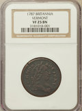 Colonials: , 1787 COPPER Vermont Copper, BRITANNIA VF25 NGC. NGC Census: (4/24).PCGS Population (7/50). ...