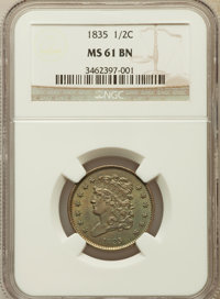 1835 1/2 C MS61 Brown NGC. NGC Census: (54/411). PCGS Population (17/342). Mintage: 398,000. Numismedia Wsl. Price for p...