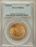 Indian Eagles: , 1910-D $10 MS62 PCGS. PCGS Population (3645/2927). NGC Census:(4558/3085). Mintage: 2,356,640. Numismedia Wsl. Price for p...