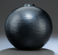 Art Glass:Other , CARLO SCARPA VENINI GLASS DEEP AMETHYST OVOID BATTUTO VASE.Circa 1940, Acid Stamped: venini murano ITALIA. ...
