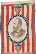 Political:Textile Display (pre-1896), James A. Garfield: A Rare 1880 Cloth Campaign Flag Banner....