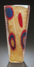 Art Glass:Other , VENINI MURANO ASYMMETRICAL RIM RIBBED VASE ATTRIBUTED TO ANZOLOFUGA. Circa 1950, Unmarked. 14-5/8 inches high (37.1 cm). ...