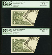 Fr. 1912-K $1 Federal Reserve Notes. Two Examples. PCGS Choice About New 58 and 55