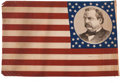 Political:Textile Display (pre-1896), Cleveland & Hendricks: An Outstanding Matching Pair of LargeCloth Campaign Flags for these 1884 Democratic Running Mates....(Total: 2 Items)