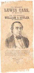 """Political:Ribbons & Badges, Lewis Cass: The U. I. """"Chick"""" Harris Example of this Extreme Ribbon Rarity. ..."""