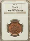 Large Cents, 1851 1C MS66 Red and Brown NGC. N-10, R.1....
