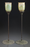 Art Glass:Tiffany , PAIR OF TIFFANY STYLE CANDLESTICKS WITH GLASS SHADES. Circa 1920.25 inches high (63.5 cm). ... (Total: 2 Items)