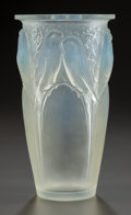 Art Glass:Lalique, R. LALIQUE OPALESCENT GLASS CEYLAN VASE. Circa 1924,Stenciled: R. LALIQUE, FRANCE. 9-1/2 inches high (24.1 cm)...