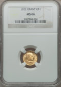Commemorative Gold, 1922 G$1 Grant No Star MS66 NGC....