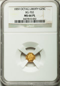 California Fractional Gold, 1859 25C Liberty Octagonal 25 Cents, BG-702, R.3, MS66 ProoflikeNGC....