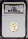 1986-W G$5 Statue of Liberty Gold Five Dollar MS70 NGC. NGC Census: (717/0). PCGS Population (96/0). Mintage: 95,248. Nu...