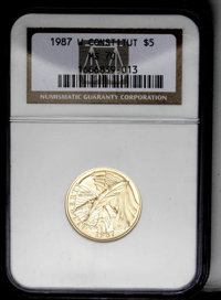 1987-W G$5 Constitution Gold Five Dollar MS70 NGC. NGC Census: (1283/0). PCGS Population (258/0). Mintage: 214,225. Numi...