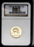 Modern Issues: , 1988-W G$5 Olympic Gold Five Dollar MS70 NGC. NGC Census: (347/0). PCGS Population (52/0). Mintage: 62,900. Numismedia Wsl....
