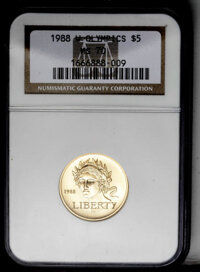 1988-W G$5 Olympic Gold Five Dollar MS70 NGC. NGC Census: (347/0). PCGS Population (52/0). Mintage: 62,900. Numismedia W...