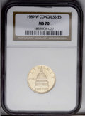 Modern Issues: , 1989-W G$5 Congress Gold Five Dollar MS70 NGC. NGC Census: (376/0). PCGS Population (95/0). Mintage: 46,899. Numismedia Wsl...