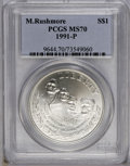 Modern Issues: , 1991-P $1 Mount Rushmore Silver Dollar MS70 PCGS. PCGS Population (57/0). NGC Census: (269/0). Mintage: 133,139. Numismedia...
