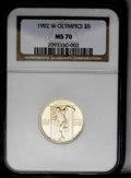Modern Issues: , 1992-W G$5 Olympic Gold Five Dollar PR70 Deep Cameo NGC. NGC Census: (452/0). PCGS Population (47/0). Mintage: 77,313. Numi...