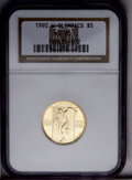 1992-W G$5 Olympic Gold Five Dollar PR70 Deep Cameo NGC. NGC Census: (455/0). PCGS Population (49/0). Mintage: 77,313. N...