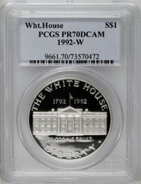 1992-W $1 White House Silver Dollar PR70 Deep Cameo PCGS. PCGS Population (16/0). NGC Census: (0/0). Mintage: 375,849. N...