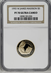 1993-W G$5 Bill of Rights Gold Five Dollar PR70 Deep Cameo NGC. NGC Census: (2/0). PCGS Population (23/0). Mintage: 78,6...