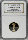 Modern Issues: , 1994-W G$5 World Cup Gold Five Dollar PR70 Deep Cameo NGC. PCGS Population (7/0). Mintage: 89,619. Numis...