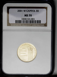 2001-W $5 Capitol Visitor's Center MS70 NGC. NGC Census: (0/0). PCGS Population (60/0). Numismedia Wsl. Price: $700....(...