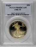 1986-W G$50 One-Ounce Gold Eagle PR68 Deep Cameo PCGS. PCGS Population (248/7938). NGC Census: (201/2427). Mintage: 446...