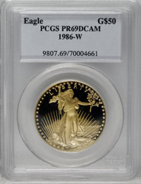 1986-W G$50 One-Ounce Gold Eagle PR69 Deep Cameo PCGS. PCGS Population (7739/85). NGC Census: (2161/244). Mintage: 446,2...