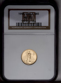 1998 G$5 Tenth-Ounce Gold Eagle MS70 NGC. NGC Census: (1368/0). PCGS Population (53/0). Numismedia Wsl. Price: $400. (#9...