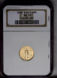 2000 G$5 Tenth-Ounce Gold Eagle MS70 NGC. NGC Census: (0/0). PCGS Population (26/0). Numismedia Wsl. Price: $152. (#9950...
