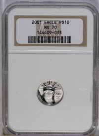 2001 G$10 Tenth-Ounce Platinum Eagle MS70 NGC. NGC Census: (1069/0). PCGS Population (6/0). Numismedia Wsl. Price: $200...