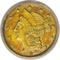 California Fractional Gold: , 1856 50C Liberty Round 50 Cents, BG-434, Low R.4, AU58 PCGS. PCGSPopulation (21/73). (#10470)...