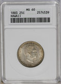 Coins of Hawaii: , 1883 25C Hawaii Quarter MS60 ANACS. NGC Census: (2/462). PCGSPopulation (6/818). Mintage: 500,000. (#10987)...