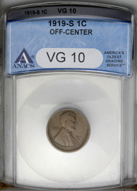 1919-S 1C Lincoln Cent--Off-Center--VG10 ANACS
