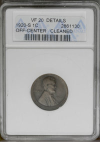 1920-S 1C Lincoln Cent--Off-Center, Cleaned--ANACS. VF20 Details. (#2528)