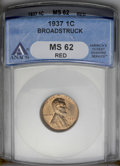 Errors: , 1937 1C Lincoln Cent--Broadstruck--MS62 Red ANACS. (#2659)...