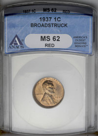 1937 1C Lincoln Cent--Broadstruck--MS62 Red ANACS. (#2659)